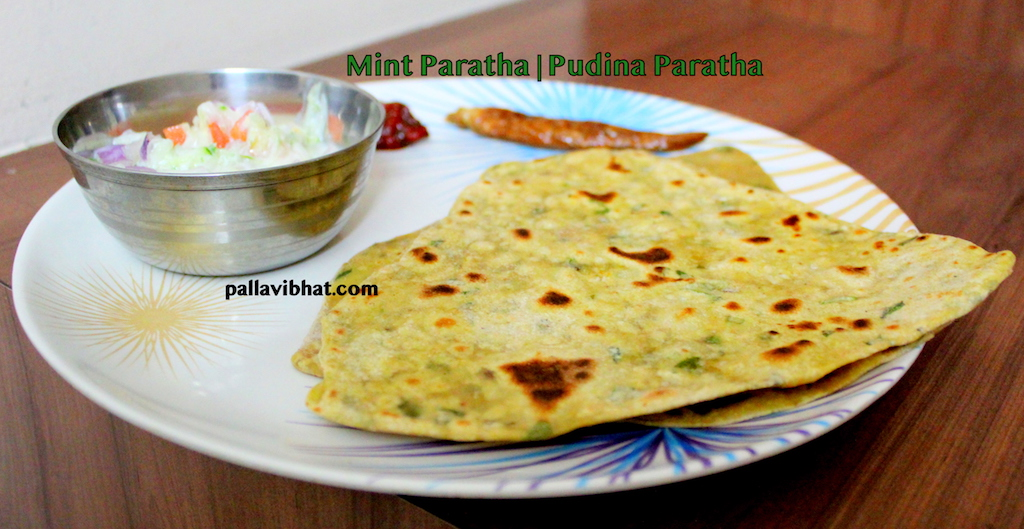 Pudina-paratha for serving
