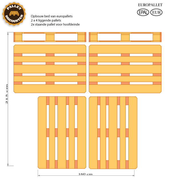 Palletbed 160 x 200