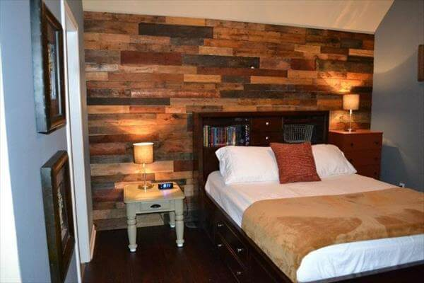16 DIY Wood Pallet Wall Ideas | Pallet Furniture DIY on Pallet Bedroom  id=35950