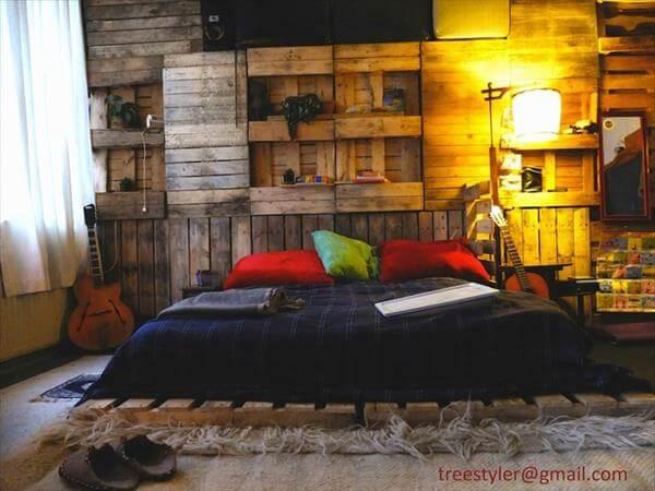 16 DIY Wood Pallet Wall Ideas | Pallet Furniture DIY on Pallet Ideas For Bedroom  id=26633
