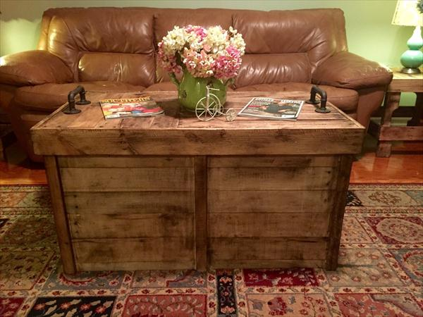 diy solid pallet coffee table with storage | pallet furniture plans
