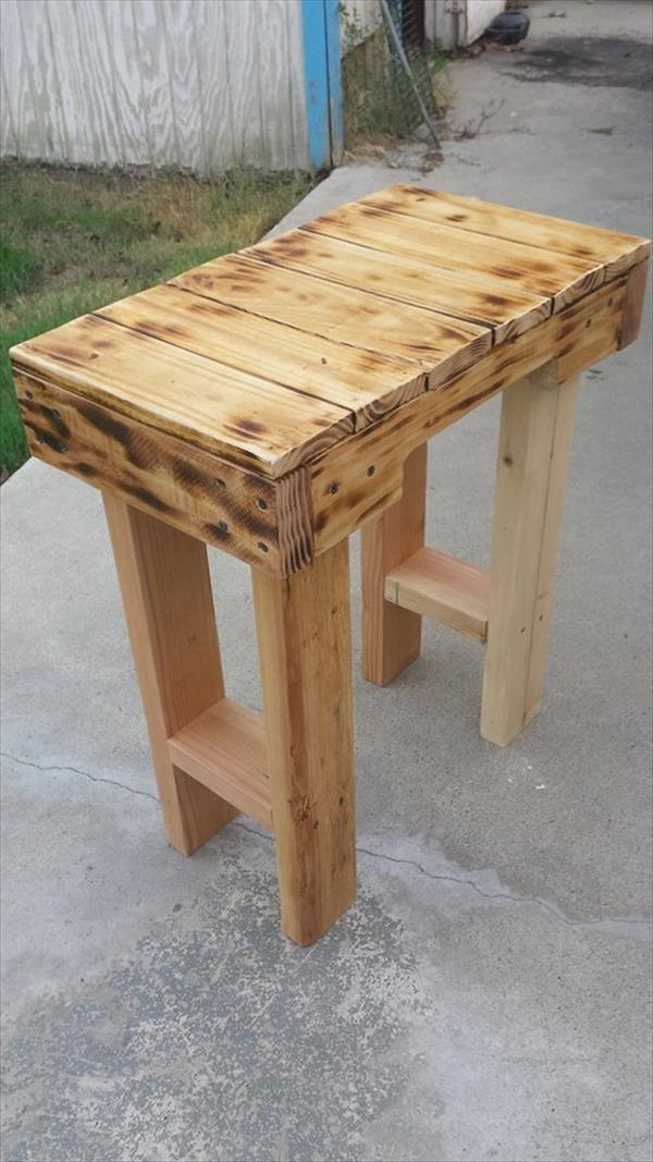 Diy Scorched Pallet End Table Pallet Furniture Plans