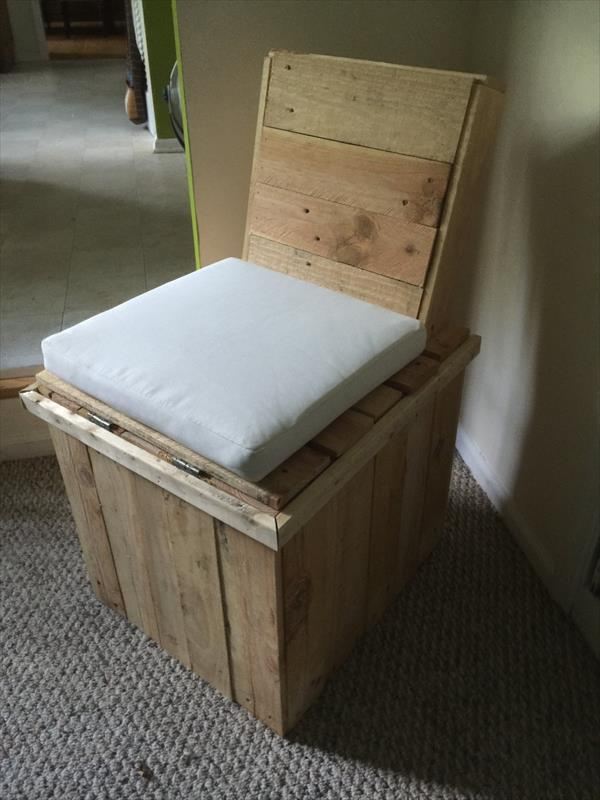 Diy Pallet Chair With Storage Area Pallet Furniture Plans