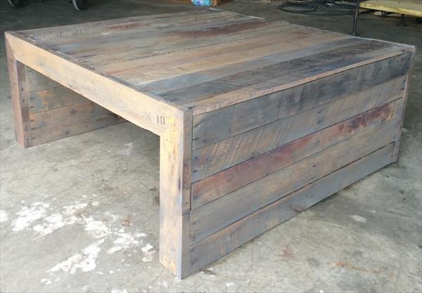 rustic unique pallet coffee table | pallet furniture plans