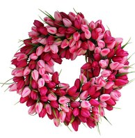 Pink Medley Tulip Spring Door Wreath