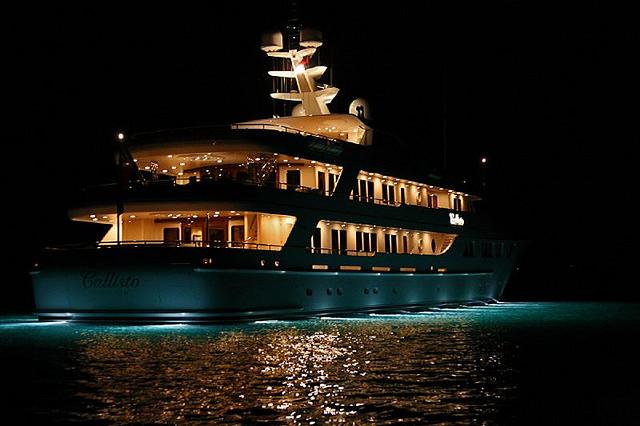 mega yacht in night