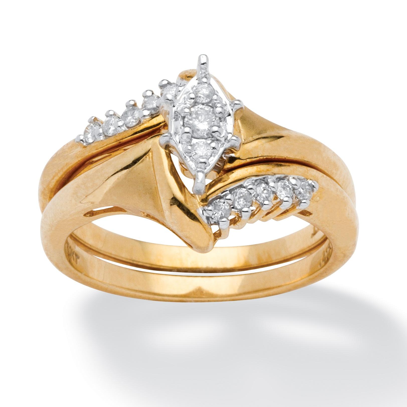 15 TCW Round Diamond 10k Yellow Gold 2 Piece Bridal