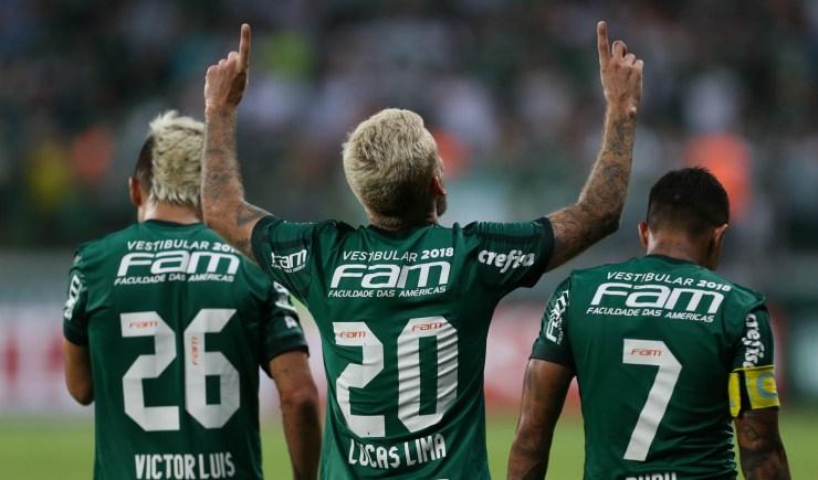 Cesar Greco/Ag Palmeiras/Divulgação_Lucas Lima (centro) fez gol em sua estreia