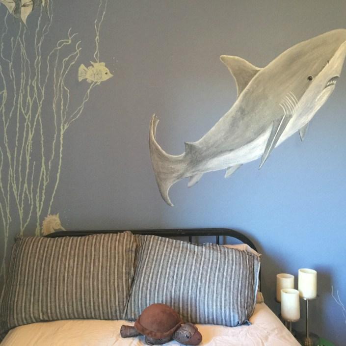 Shark themed nautical bedroom