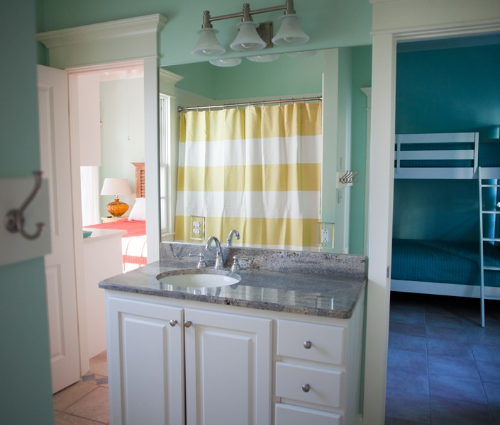 Nautical sea foam green bathroom design