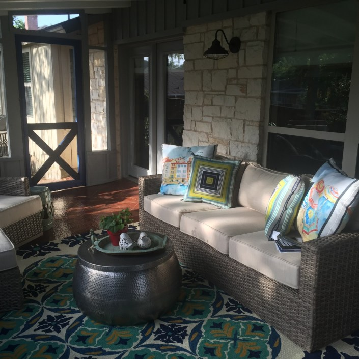 Eclectic covered patio seating