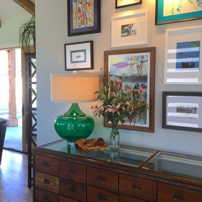 Eclectic / contemporary entryway art and decor