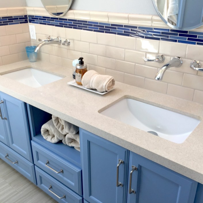 Modern blue bathroom sink for kids
