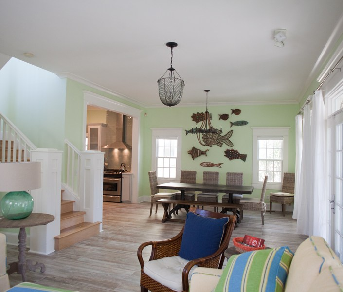 Nautical living room and dining room
