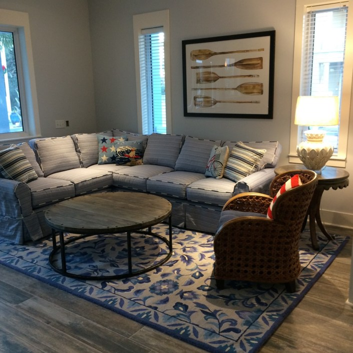 Nautical sectional couch in living room