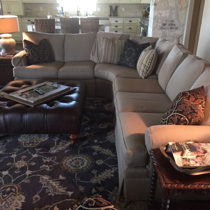 Transitional sectional couch and leather ottoman