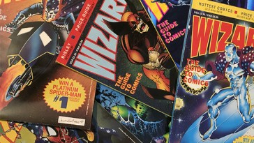 early covers of wizard the guide to comics featuring marvel comics and dc comics superheroes wolverine, batman, silver surfer, the hulk, ghost rider and spider-man