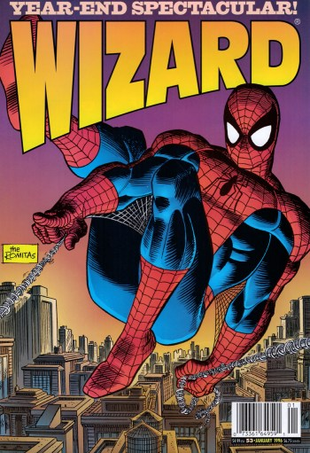 spider-man by john romita sr and jr from the cover of wizard 53, which includes a 1996 preview