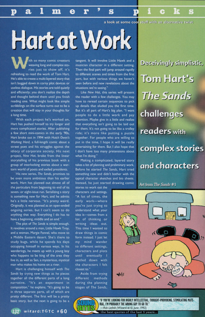 palmer's picks from wizard the guide to comics #60 featuring tom hart's the sands
