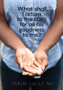 A person standing with their hands in front of them, palms up and one overlapping the other, with the words of Psalm 116:12 printed  above.
