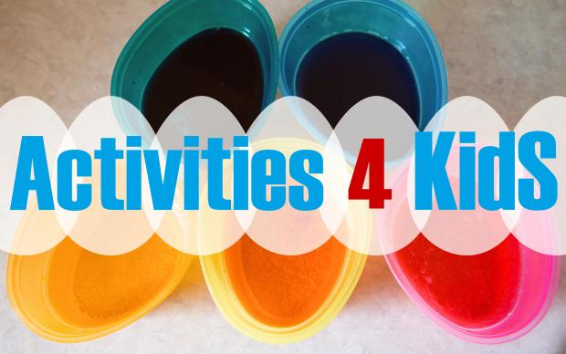 title activities for kids with colourful bowls as a background