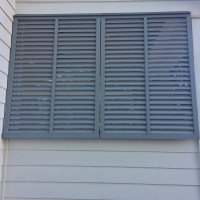 Bahama Shutters in Signal Gray_Greenville SC Louverlite