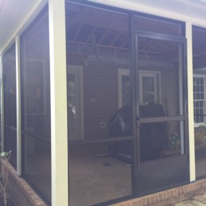 New screen porch with brown screen frame system and BetterVue Screen Mesh