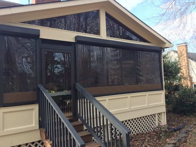 Fenetex Clear Vinyl Motorized Clear Vinyl Panels for porch protection