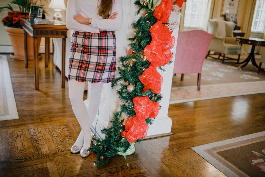 Lauren James Scalloped Plaid Flannel Skirt
