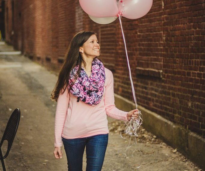 Lilly Pulitzer Panda scarf with blush pink top