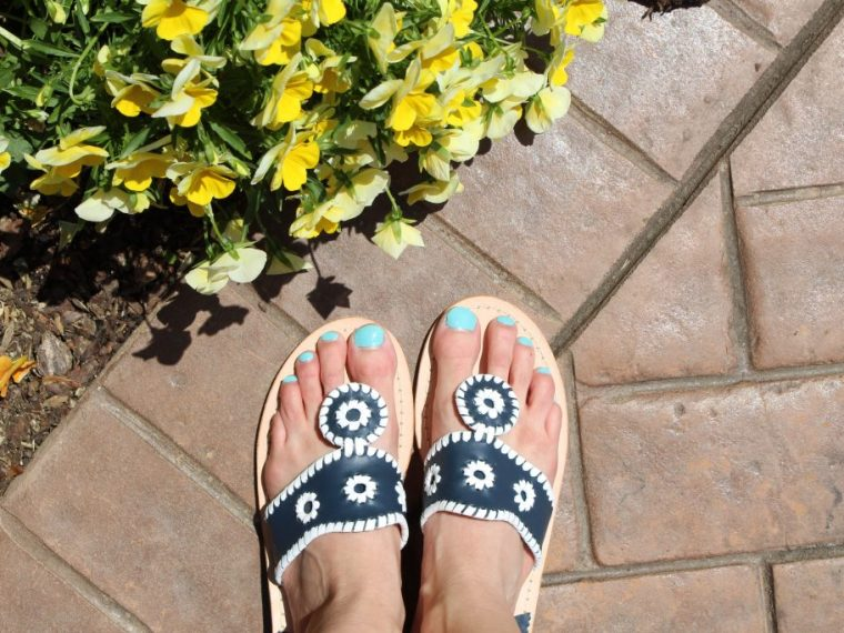 Jack Rogers Palm Beach Sandals Navy and white