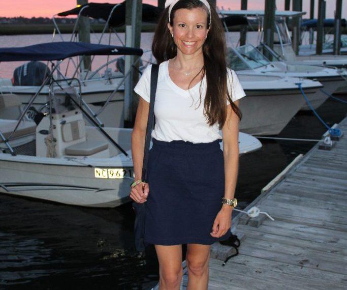 navy seersucker skirt