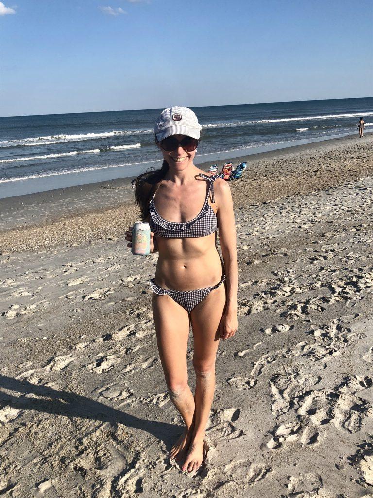 Aerie Navy Gingham Seersucker Ruffle Bikini
