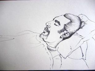 La siesta, dibujo directo a rotulador