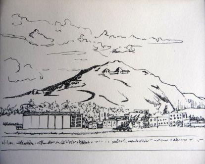 Dibujo a rotulador de Gando en Gran Canaria