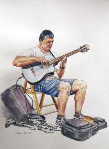 Street musicians drawings. Dibujos de músicos callejeros.