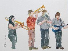 Drawings of street musicians, dibujos de músicos callejeros