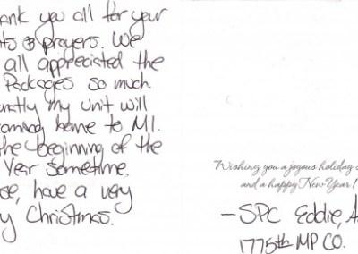 Thank you from Spc. Amanda Eddie