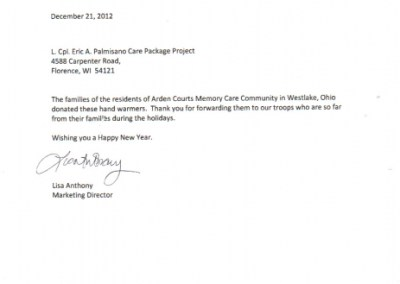 Cover letter from Arden Courts in Ohio with handwarmers
