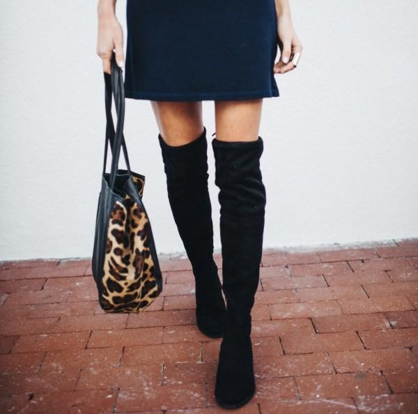 Monrow Long Sleeve Mini Dress   Over the Knee Boots
