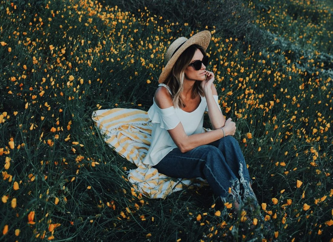 Jen Hawkins among California Poppies
