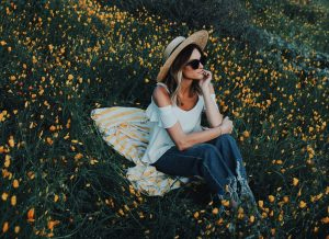 Jen Hawkins among California Poppies