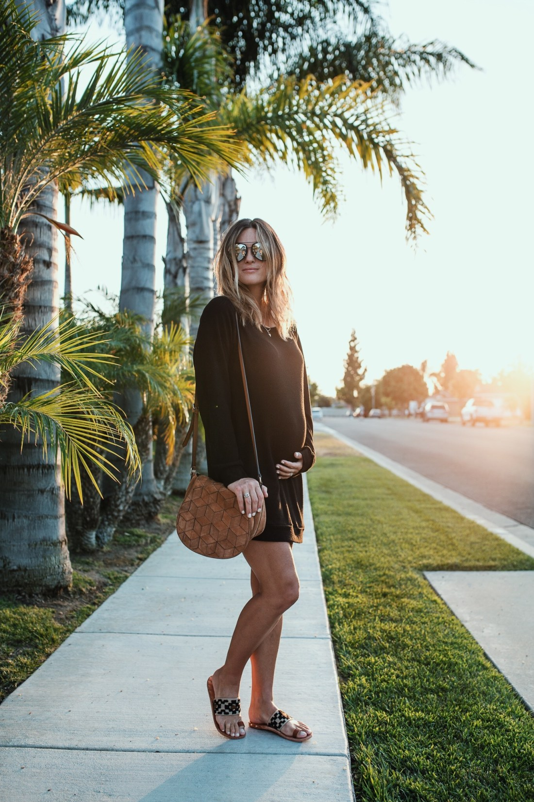 Black Sweatshirt Dress Maternity