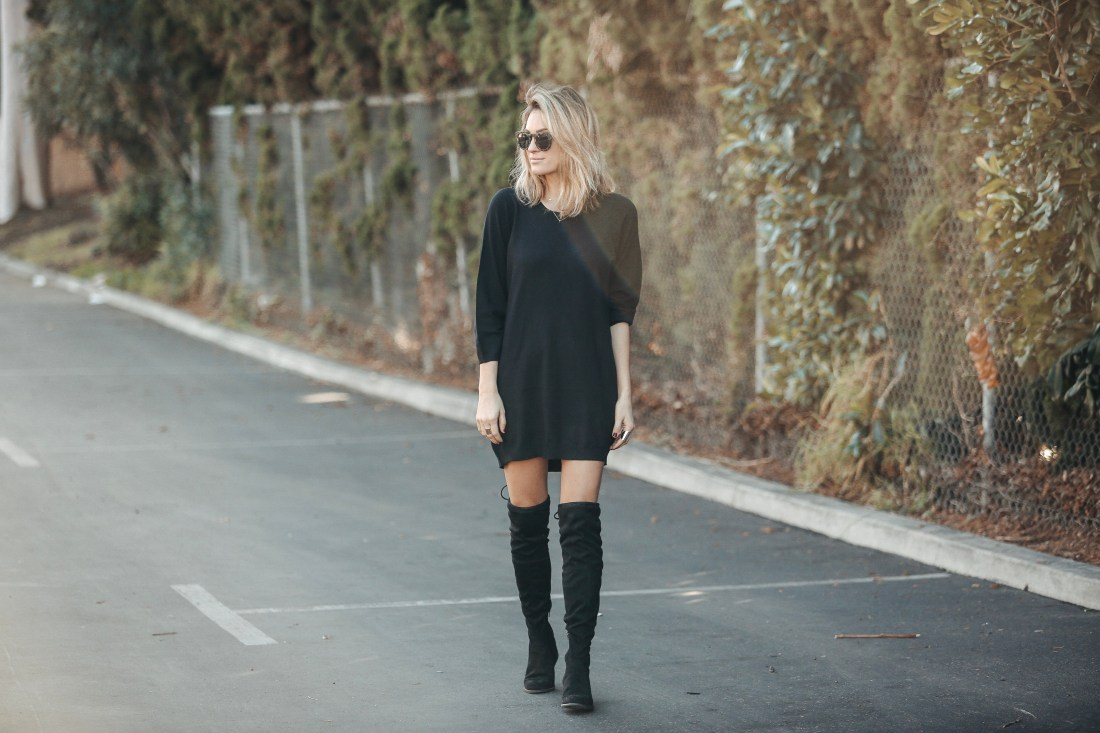 New Year's Budget | Black Sweater Dress | Over the Knee Boots on Sale