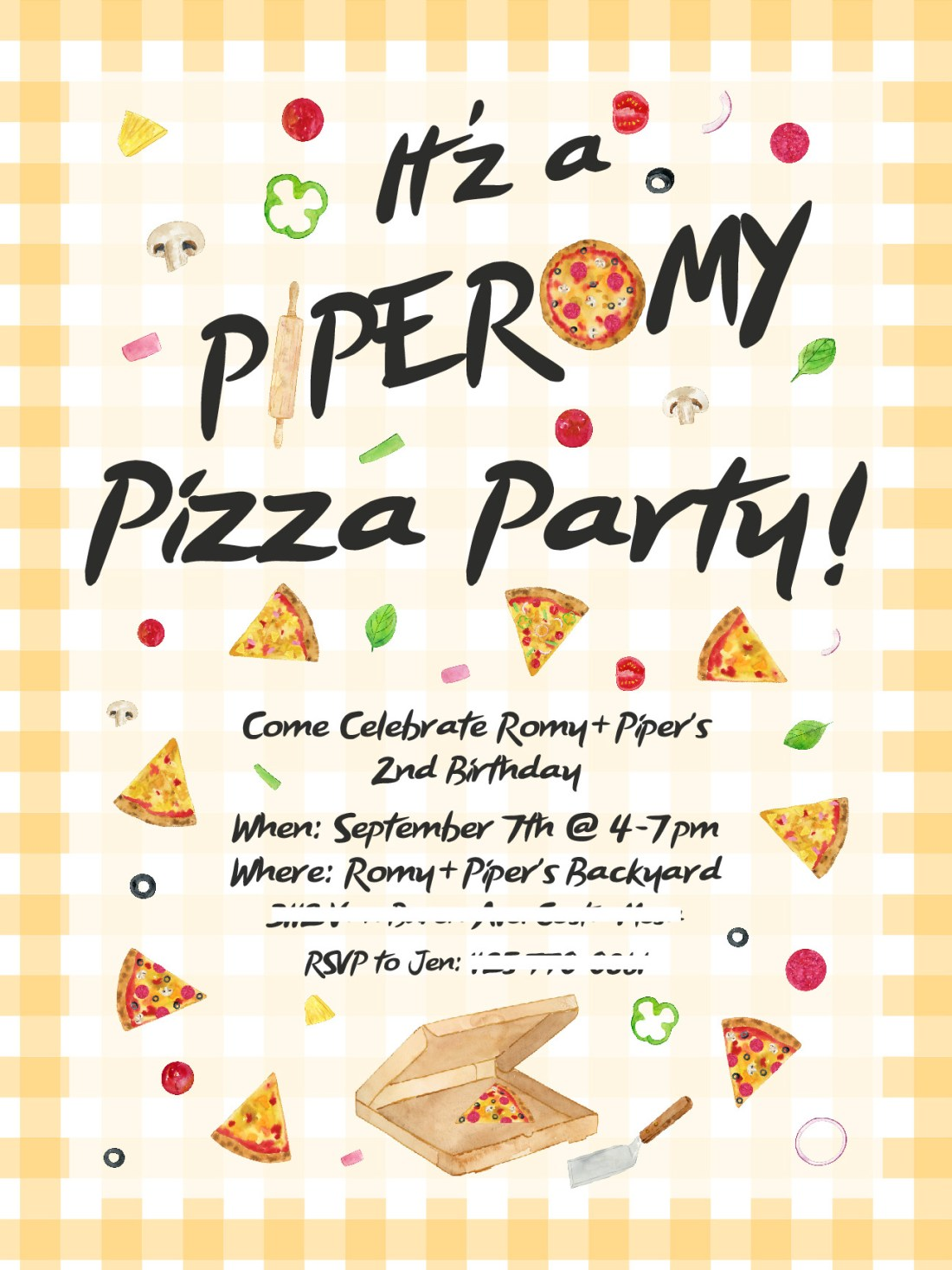 Romy + Piper 2nd Bday | Pizza Party Birthday Invitation