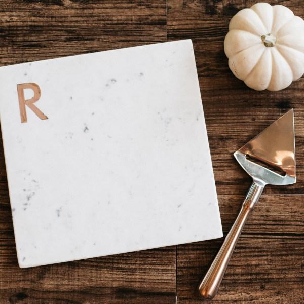 Hostess Gift Idea - Williams Sonoma Marble and Copper Monogram Cheese Board