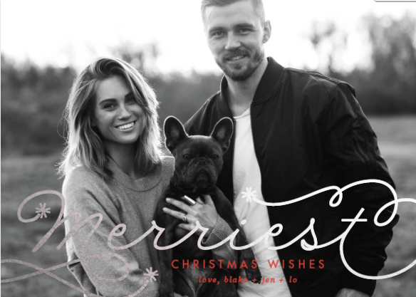 Jen Hawkins and Blake Nyman Christmas Cards on Palms to Pines