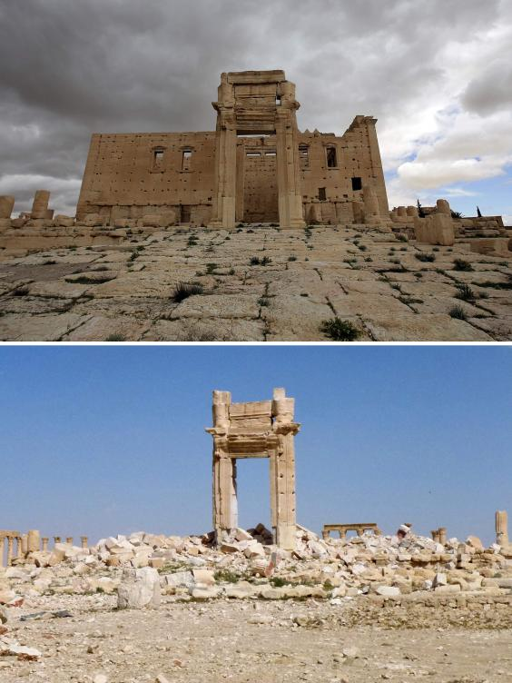 The iconic Temple of Bel prior to being blown up by Islamic State (IS) group jihadists in September 2015 and the remains of the temple after Syrian troops recaptured the ancient site