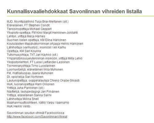 Savonlinnan vihreät kunnallisvaaliehdokkaat
