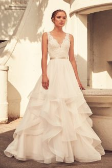 Ball Gown Archives   Paloma Blanca Lightly Beaded Bodice Wedding Dress   Style  4798   Paloma Blanca